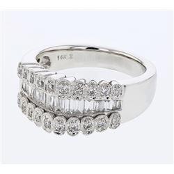 Natural 0.92 CTW Diamond & Baguette Ring 14K White Gold - REF-153M9F