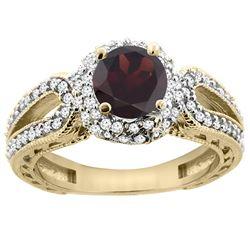 1.51 CTW Garnet & Diamond Ring 14K Yellow Gold - REF-87W2F