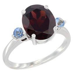2.64 CTW Garnet & Blue Sapphire Ring 14K White Gold - REF-34V8R