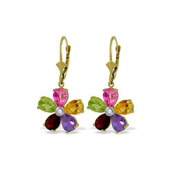 Genuine 4.43 ctw Pink Topaz, Citrine & Amethyst & Diamond Earrings 14KT Yellow Gold - REF-50H5X