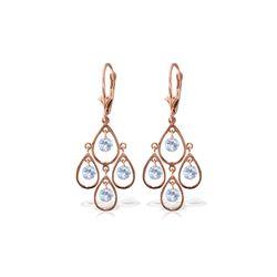 Genuine 2.4 ctw Aquamarine Earrings 14KT Rose Gold - REF-61Z6N