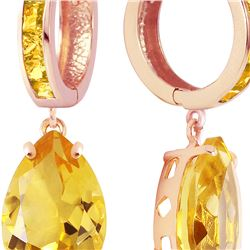 Genuine 13.2 ctw Citrine Earrings 14KT Rose Gold - REF-68Z7N