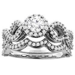 0.85 CTW Diamond Ring 14K White Gold - REF-134M2A