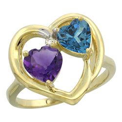 2.61 CTW Diamond, Amethyst & London Blue Topaz Ring 10K Yellow Gold - REF-24M3A
