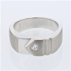 Natural 0.21 CTW Princess Diamond Ring 14K White Gold - REF-121M5F