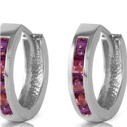 Genuine 0.85 ctw Amethyst Earrings 14KT White Gold - REF-37P2H