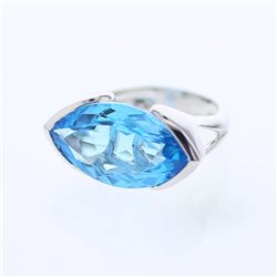 Natural 14.51 CTW Topaz Ring 14K White Gold - REF-72R9K