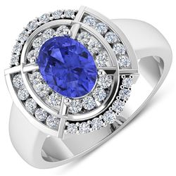 Natural 2.77 CTW Tanzanite & Diamond Ring 14K White Gold - REF-70T2H