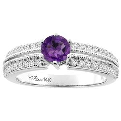 1.10 CTW Amethyst & Diamond Ring 14K White Gold - REF-66X9M