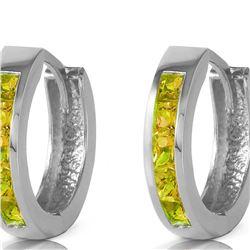 Genuine 1 ctw Peridot Earrings 14KT White Gold - REF-37F4Z