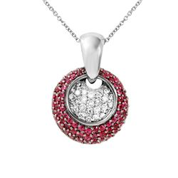 Natural 1.68 CTW Ruby & Diamond Necklace 14K White Gold - REF-100M8F
