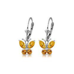 Genuine 1.24 ctw Citrine Earrings 14KT White Gold - REF-38K2V