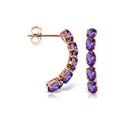 Genuine 2.5 ctw Amethyst Earrings 14KT Rose Gold - REF-37P4H