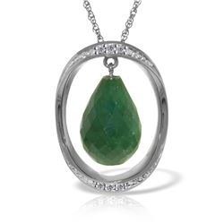 Genuine 13.6 ctw Sapphire & Diamond Necklace 14KT White Gold - REF-122X9M