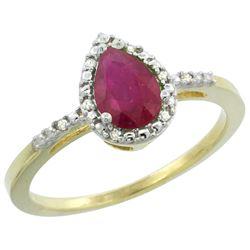 1.05 CTW Ruby & Diamond Ring 10K Yellow Gold - REF-28A6X