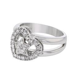Natural 0.45 CTW Diamond Ring 18K White Gold - REF-140H4W