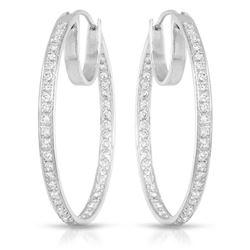 Natural 1.09 CTW Diamond Earrings 18K White Gold - REF-180M2F