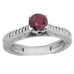 0.75 CTW Ruby & Diamond Ring 14K White Gold - REF-53Y5V
