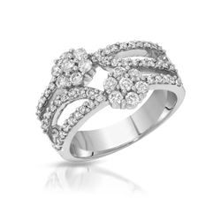 Natural 0.96 CTW Diamond Ring 14K White Gold - REF-96X3T