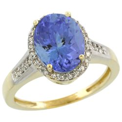 2.60 CTW Tanzanite & Diamond Ring 10K Yellow Gold - REF-76A4X