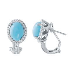 Natural 4.49 CTW Turquoise & Diamond Earrings 14K White Gold - REF-88R2K