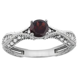 0.85 CTW Garnet & Diamond Ring 14K White Gold - REF-67V8R