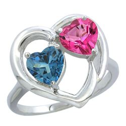 2.61 CTW Diamond, London Blue Topaz & Pink Topaz Ring 14K White Gold - REF-34R2H