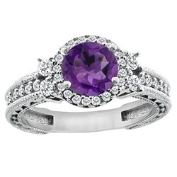 1.46 CTW Amethyst & Diamond Ring 14K White Gold - REF-77M4A