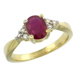 1.44 CTW Ruby & Diamond Ring 14K Yellow Gold - REF-37W9F