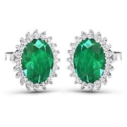 Natural 2.46 CTW Zambian Emerald & Diamond Earrings 14K White Gold - REF-49M3T