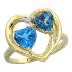 2.61 CTW Diamond, Swiss Blue Topaz & London Blue Topaz Ring 14K Yellow Gold - REF-34V2R