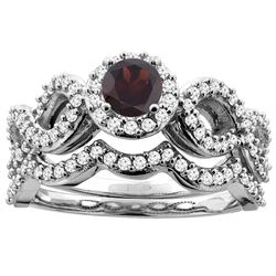 1.10 CTW Garnet & Diamond Ring 10K White Gold - REF-81V6R