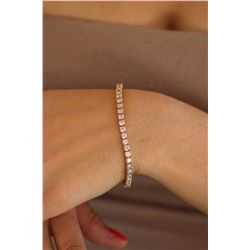 Natural 6.05 ctw Diamond Eternity Tennis Bracelet 18K Rose Gold - REF-507R2K