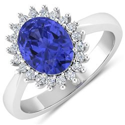 Natural 2.49 CTW Tanzanite & Diamond Ring 14K White Gold - REF-50R2F