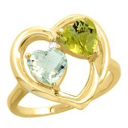 2.61 CTW Diamond, Amethyst & Lemon Quartz Ring 14K Yellow Gold - REF-33F5N
