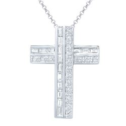 Natural 0.73 CTW Baguette & Diamond Necklace 18K White Gold - REF-112H5W