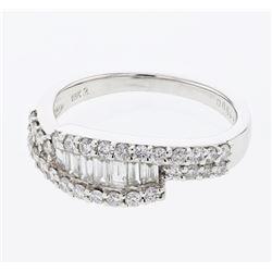 Natural 0.87 CTW Baguette & Diamond Ring 18K White Gold - REF-123Y3N