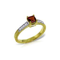 Genuine 0.65 ctw Garnet & Diamond Ring 14KT Yellow Gold - REF-69R6P