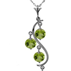 Genuine 2.25 ctw Peridot Necklace 14KT Rose Gold - REF-30T2A