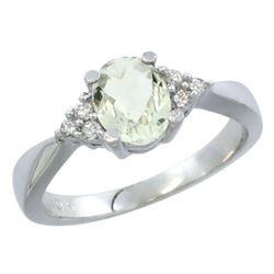 1.06 CTW Amethyst & Diamond Ring 10K White Gold - REF-28W4F