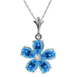 Genuine 2.22 ctw Blue Topaz & Diamond Necklace 14KT White Gold - REF-30K2V