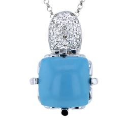 Natural 7.30 CTW Turquoise & Diamond Necklace 14K White Gold - REF-51R3K