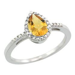 1.55 CTW Citrine & Diamond Ring 10K White Gold - REF-20V7R