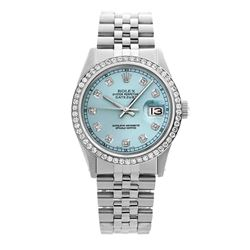 Rolex Pre-owned 36mm Mens Ice Blue Dial Stainless Steel