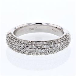 Natural 1.03 CTW Diamond Ring 14K White Gold - REF-126Y9N