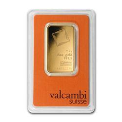 Genuine 1 oz 0.9999 Fine Gold Bar - Valcambi