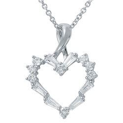 Natural 0.53 CTW Diamond & Baguette Necklace 14K White Gold - REF-65Y7N