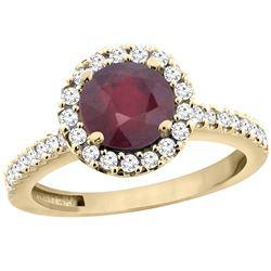 1.43 CTW Ruby & Diamond Ring 10K Yellow Gold - REF-54F9N