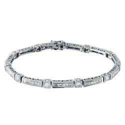 Natural 2.96 CTW Diamond & Princess Diamond Bracelet 18K White Gold - REF-491H4W