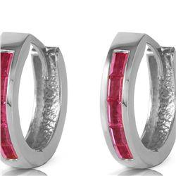 Genuine 1.30 ctw Ruby Earrings 14KT White Gold - REF-39H6X